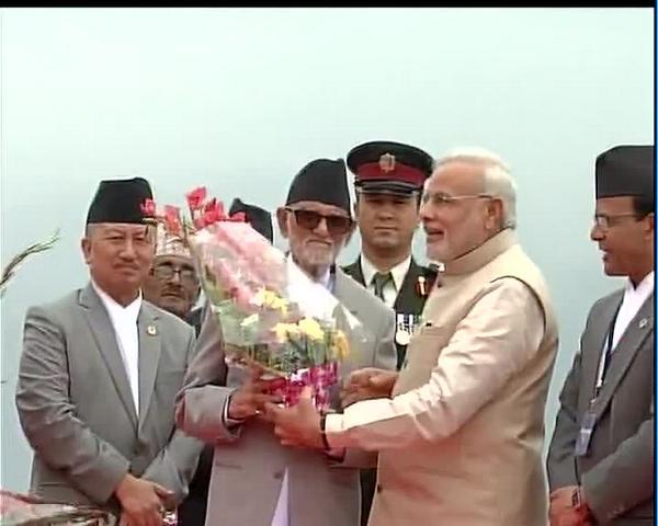 Nepal Prime Minister Narendra Modi welcomed at Kathmandu