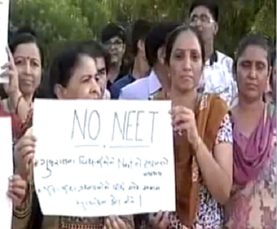parents protest NEET injustice