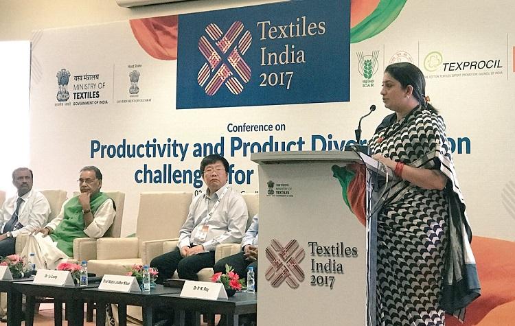 Smriti Irani addresses Textiles India 2017 in Gujarat
