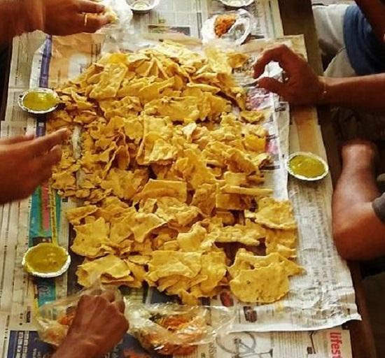 eating fafda jalebi in Ahmedabad