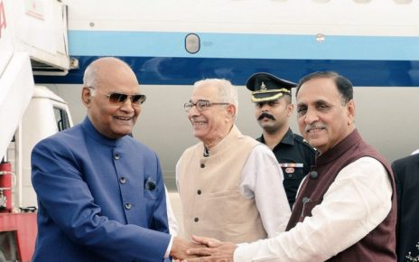 kovind welcomed by gujarat cm
