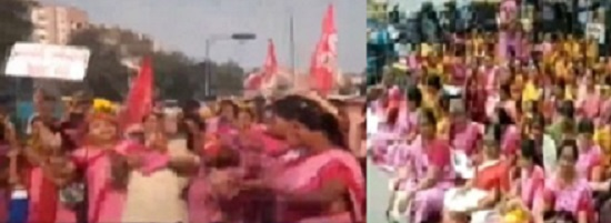 Anganwadi workers protest in Ahmedabad