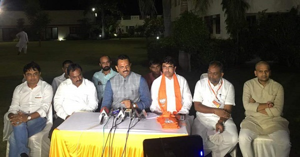 Narendra Patel PAAS convener's press conference attended by BJP leaders