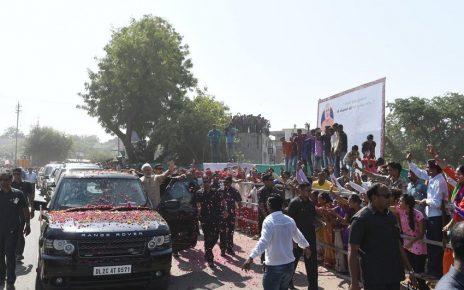 PM Narendra Modi welcomed at Vadnagar