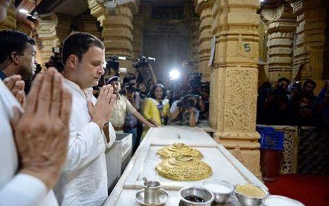 rahul gandhi get darshan at somnath temple