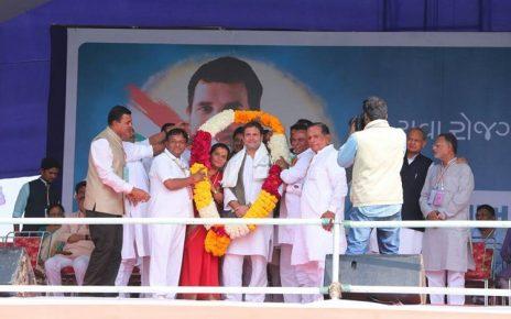 rahul gandhi welcomed at palanpur