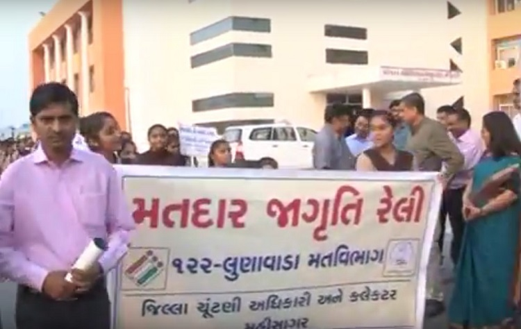 students enganged in voter awareness campaign