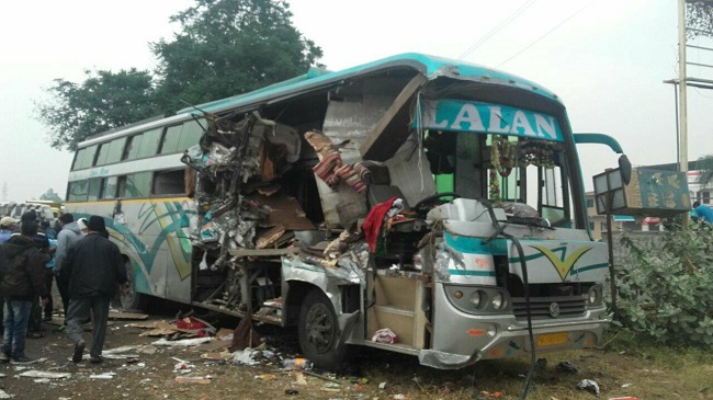 surat bus front part damaged