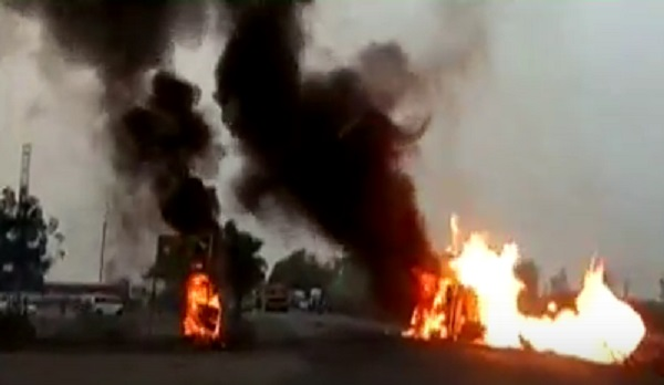 tanker catch fire in bharuch