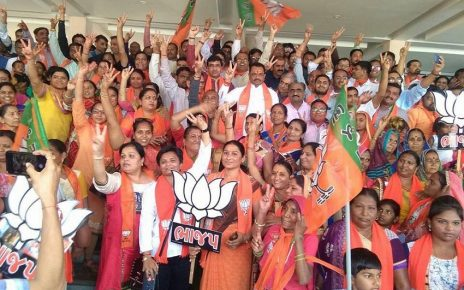 bjp workers celebrate at bjp hq kamalam after local body elections