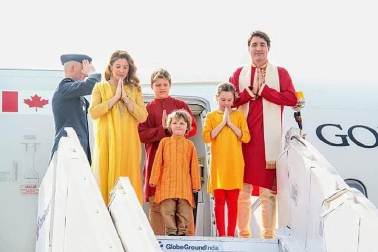 canada pm welcomed in ahmedabad