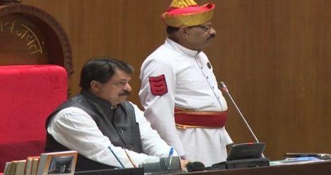 gujarat assembly speaker rajendra trivedi at budget session