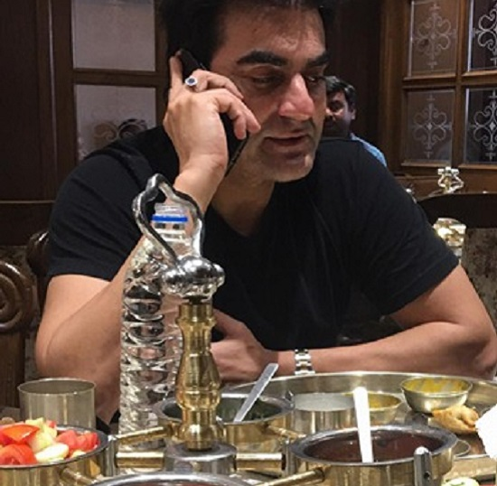 arbaaz khan gets news of salman release on bail while eating gujarati thali