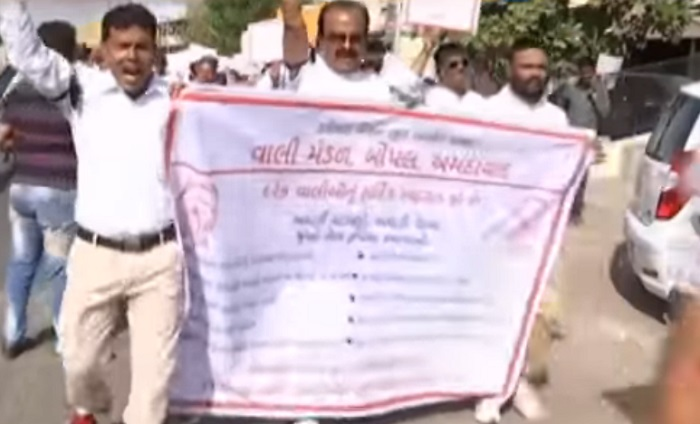 bopal parents association protest against school fees hike