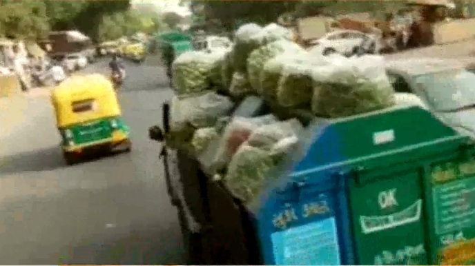 amc waste collection van used to transport vegetables