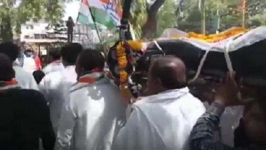 jamnagar congress protest against fuel price