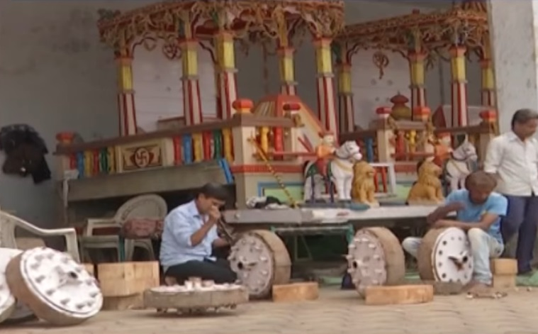 chariots of lord jagannath being repaired
