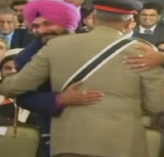 sidhu hugs pakistan army chief