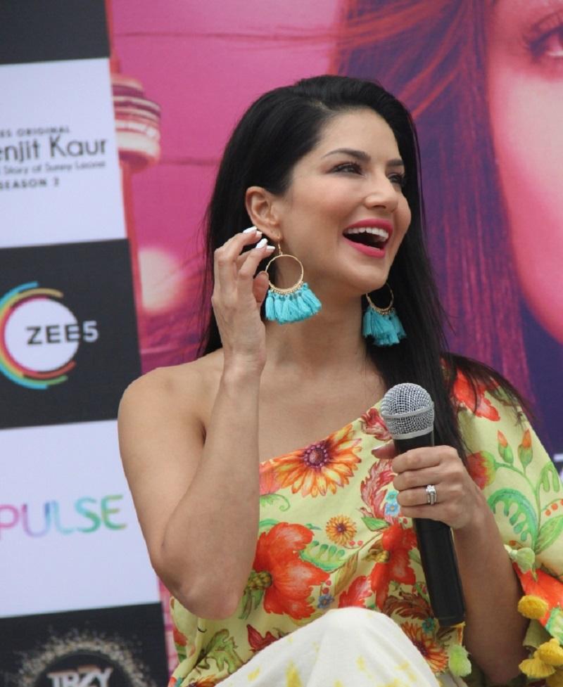 Sunny Leone at Karnavati University at the launch of KKS02 on ZEE5