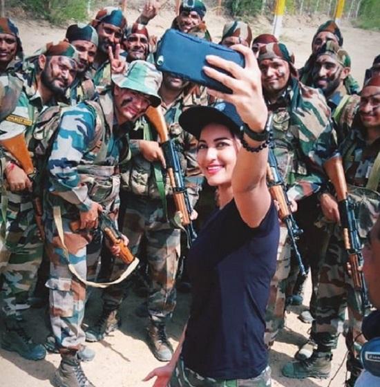 sonakshi sinha with army jawans