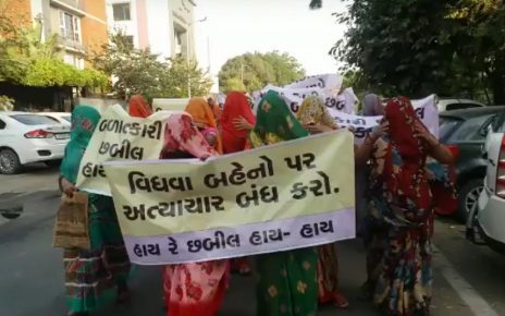 widows protest against chhabil patel