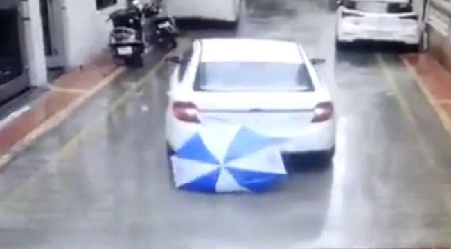 reverse car accident boy unhurt