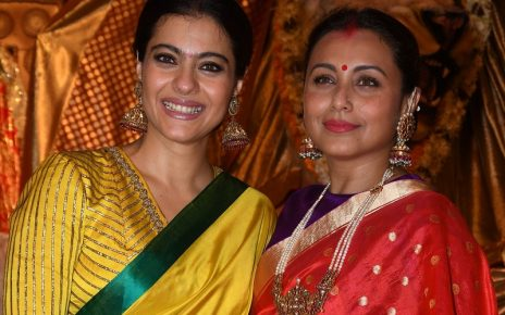 Kajol with Rani Mukherjee at Durga Puja