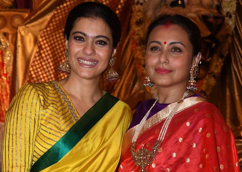 Kajol with Rani Mukherjee at Durga Puja
