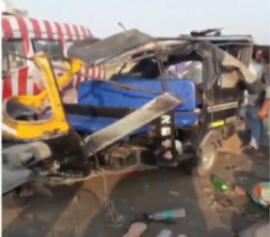 accident between auto and truck
