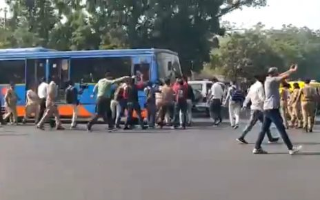 brts bus stopped by nsui in ahmedabad