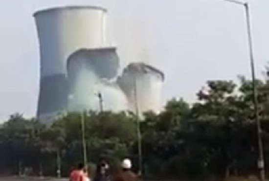 cooling tower demolished