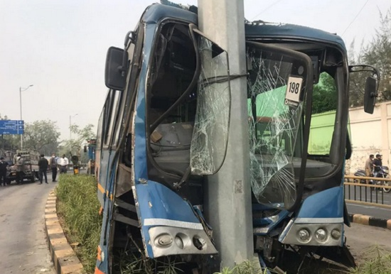 brts bus accident near isro